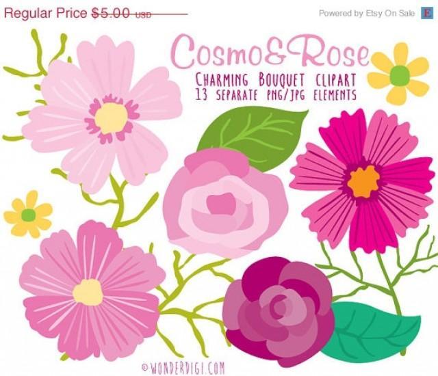 Clipart SALE Flower Clip Art - Clipart Rose & Cosmos Flowers Bouquet ...