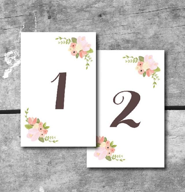 instant download rustic floral table numbers printable wedding cards by itsy belle 2288115. Black Bedroom Furniture Sets. Home Design Ideas