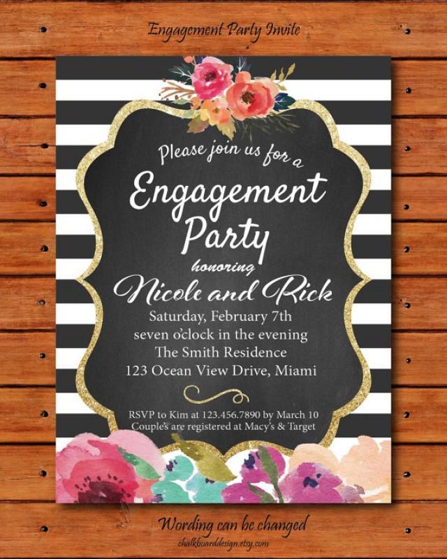 Rustic Flower Engagement Invite, Engagement Party Invitation, Custom ...