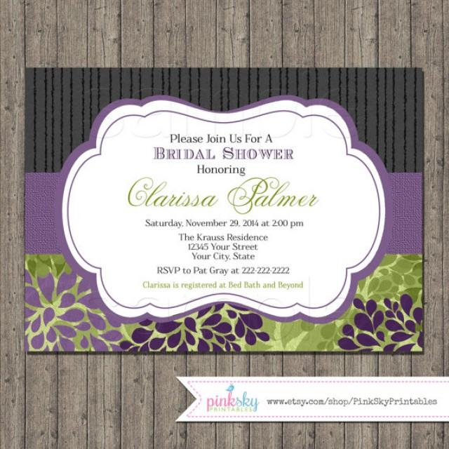 Elegant Bridal Shower Invitations Printable Floral Bridal