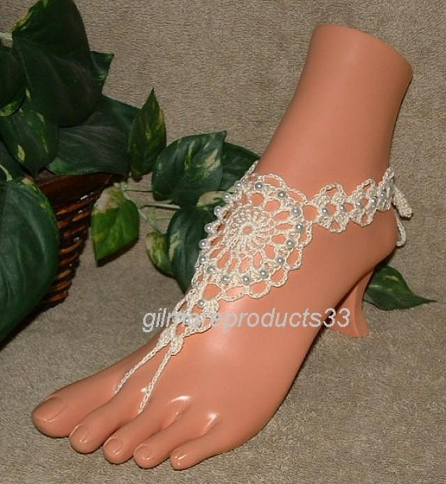 Ivory Victorian Lace Crochet Barefoot Sandals, Foot ...