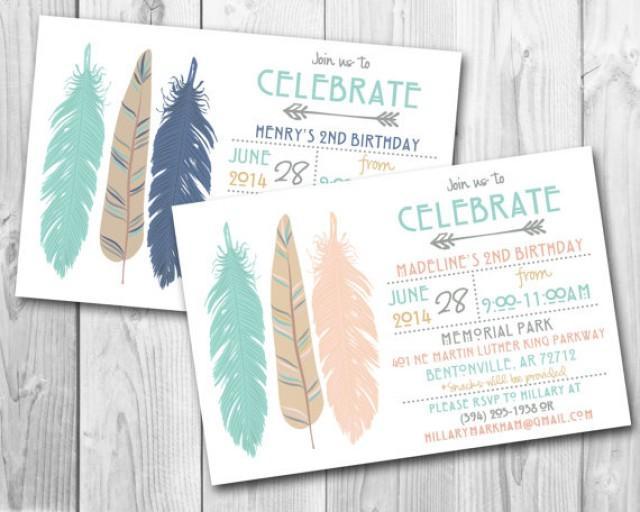 Modern Tribal Feathers Birthday Party Invitation