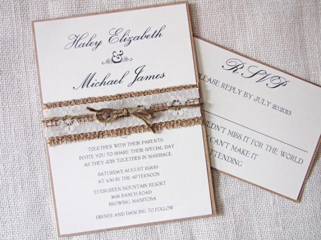 Rustic Wedding Invitation, Burlap Wedding Invitation, Lace Wedding  Invitations, Rustic Country Lace Shabby Chic Wedding Inviation.