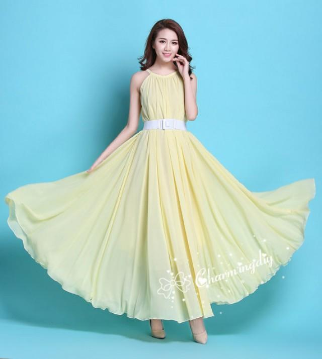 29 colors chiffon light yellow long party dress evening for Yellow maxi dress for wedding