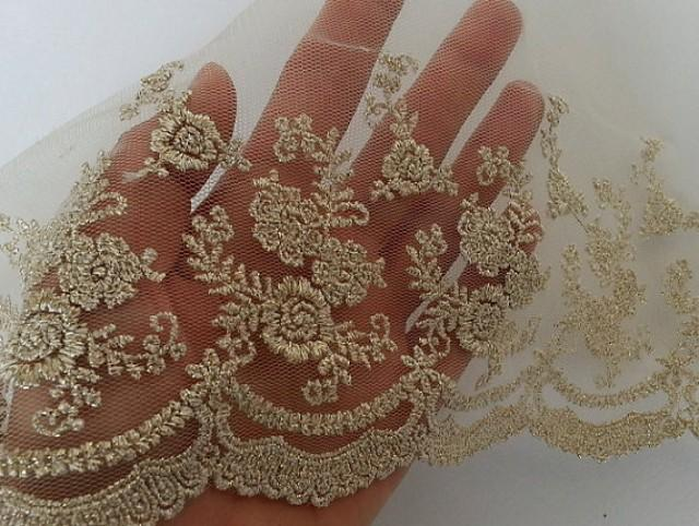 7 Quot Gold Vintage Lace Trim Embroidered Gauze Lace Lovely