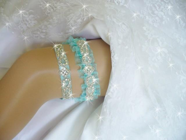 Light Turquoise Blue Wedding Garter Set, Lt. Turquoise Garter ...