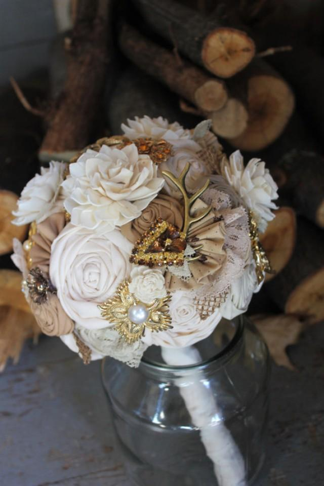 Rustic Ivory Antler And Brooch Burlap Bouquet // Ivory Sola Flower ...