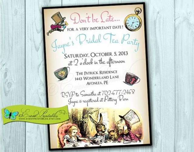 Alice In Wonderland Printable Invitation, Bridal Shower ...