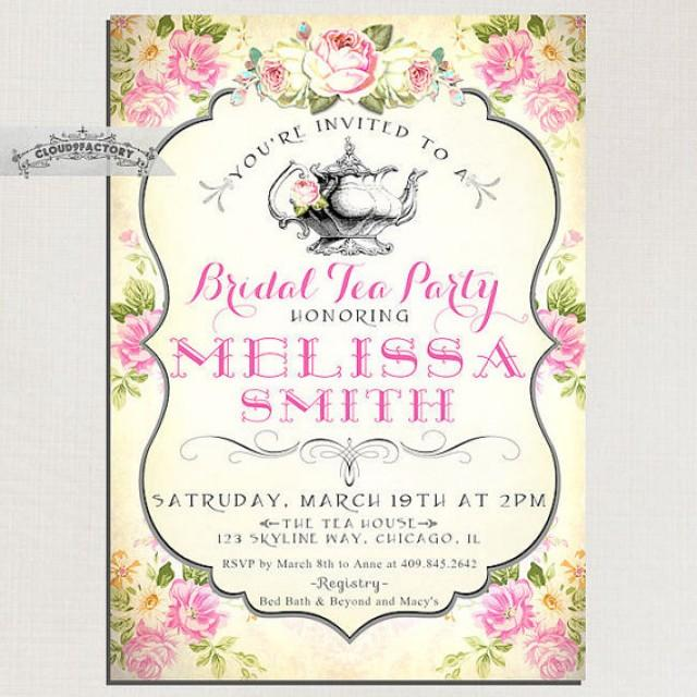 Bridal Shower Tea Party Invitations Vintage Style Pink Yellow Shabby Chic Roses Digital Printable File Or Printed Cards No 751