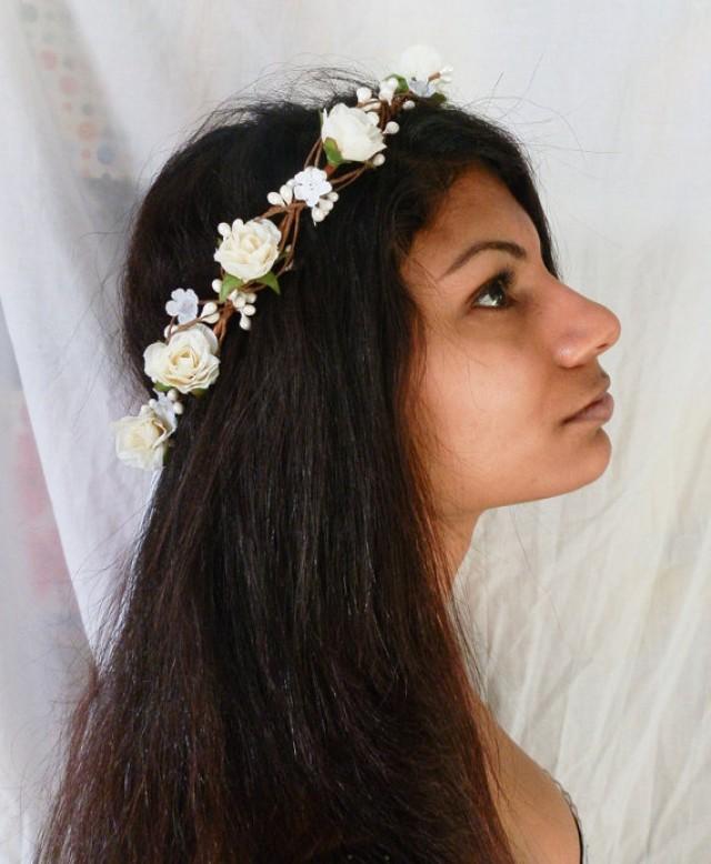Woodland flower hair wreath white rose wedding headpiece woodland flower hair wreath white rose wedding headpiece headband vintage inspired rose crown boho bridal 2289379 weddbook mightylinksfo