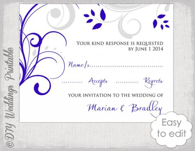 Response Card Template DIY Royal Blue U0026 Silver Gray   Free Rsvp Card Template