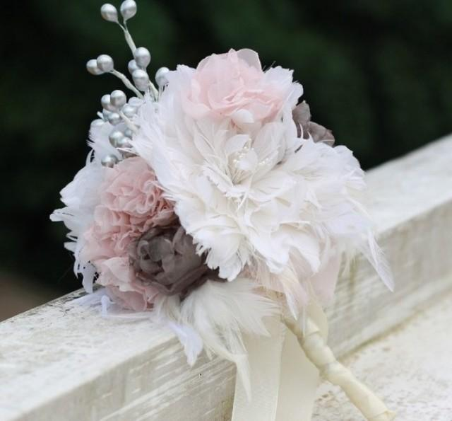 Feather Flower Bouquet With Fabric Flower And Berry Fillers 3 ...