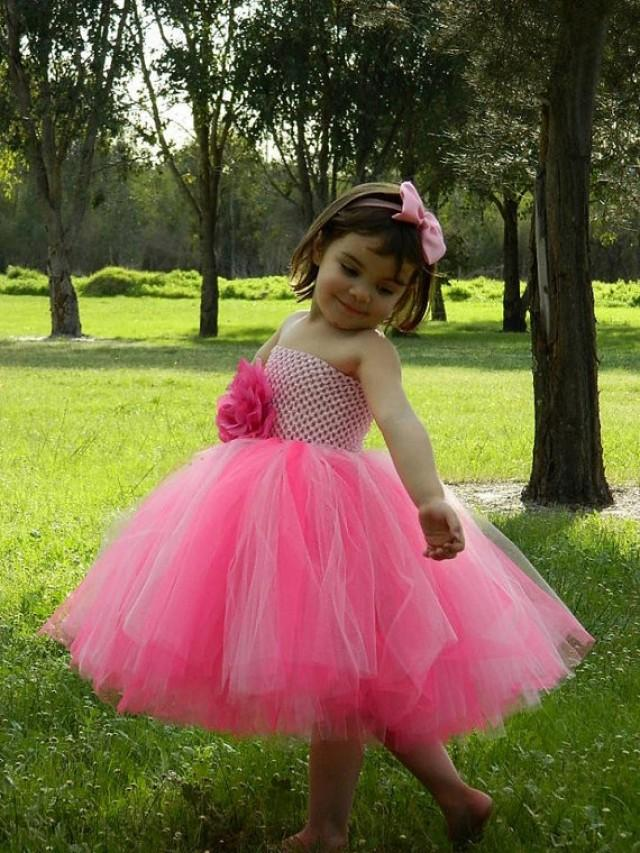 hot pink flower girl dress № 139467