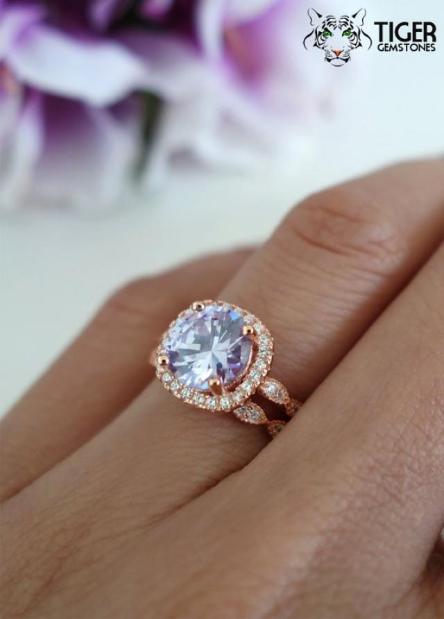 2 25 Carat Halo Wedding Set Bridal Lavender Purple Man