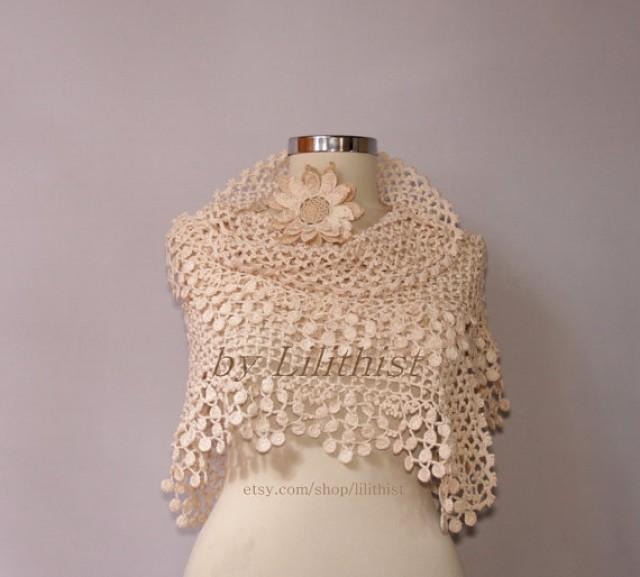 Ivory Bridal Shawl Shrug Bolero Crochet Shawl Wedding Lace