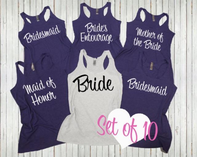 10 Bridesmaid Tank Top. Bachelorette Shirts. Set Of 10 ...