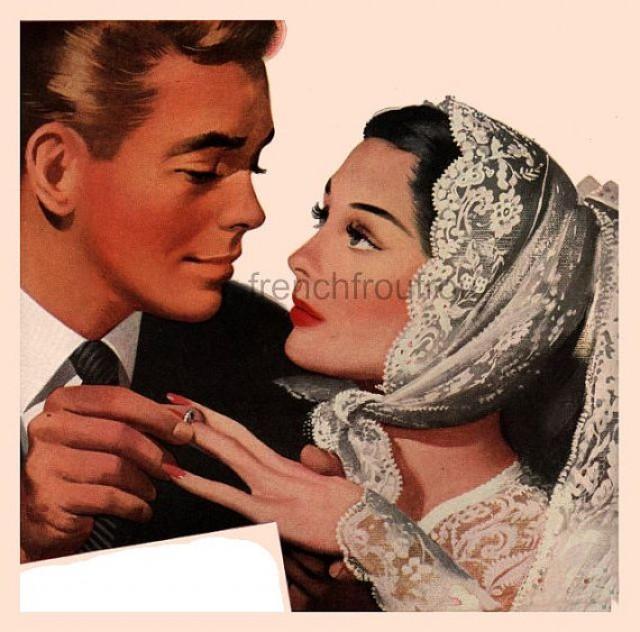 Vintage Marriage Proposal Wedding Ring Illustration Digital Download 2289864