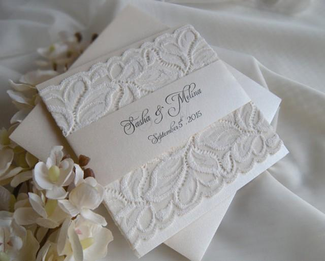 wedding invitation  lace wedding invitation  gold wedding