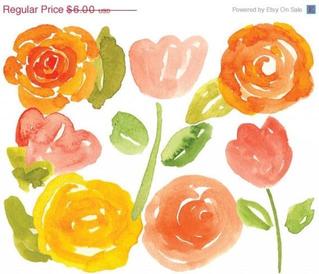 Clipart SALE Watercolor Clipart - Watercolor Clip Art - Rose Bouquet ...