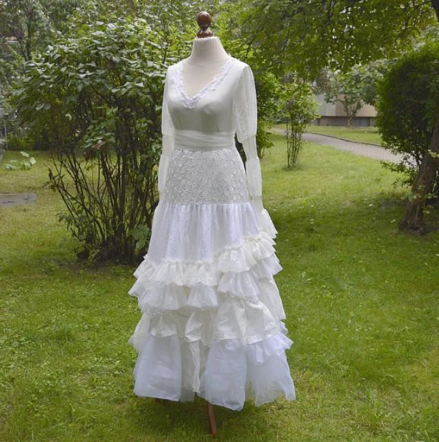 Eclectic White And Ivory Upcycled Wedding Dress Tattered