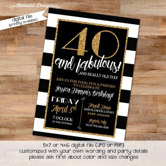 40th birthday invitation black and white stripe gold retirement