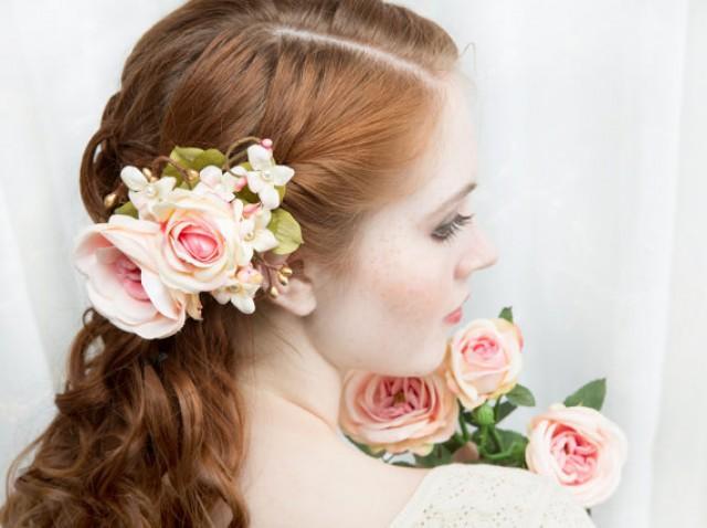 Blush Pink Hair Flower Or Brooch Bridal Wedding: Bridal Hair Accessory, Coral Pink And Gold, Blush Pink