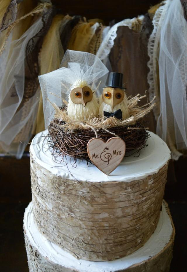 Owls Wedding Cake Topper Barn Rustic OWLS 2290783
