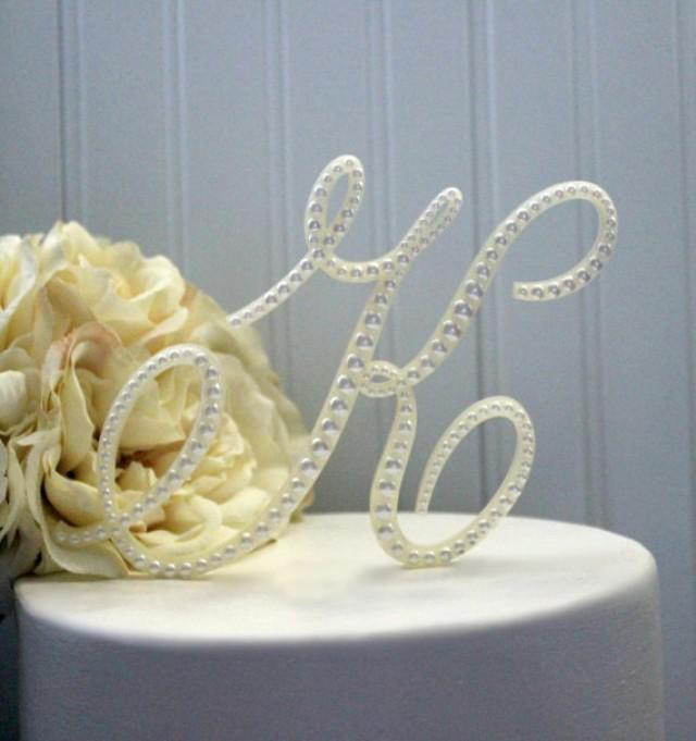 Pearl Monogram Wedding Cake Topper Decorated With Pearls In Any