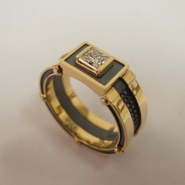 gold signet ring men s 14k gold and diamond band steampunk signet