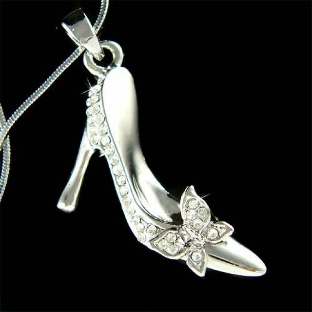 Swarovski Crystal Cinderella Slippers Princess Glass High Heel ...