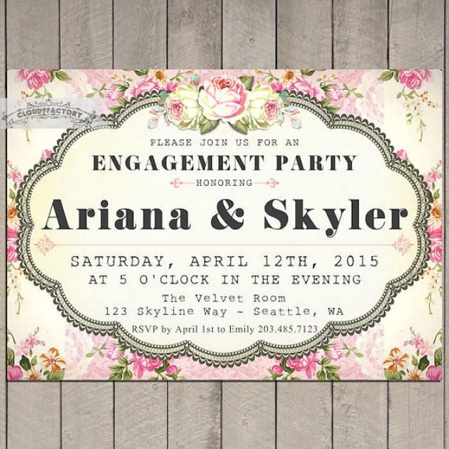 Pink Engagement Party Invitations Printable Invite Garden Party – Garden Party Wedding Invitations