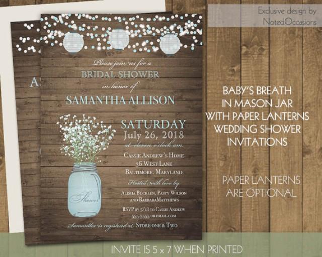 paper lanterns bridal shower invitations mason jar baby's breath, Baby shower invitations