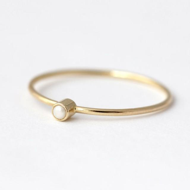 14k Gold Ring Gold Pearl Ring Delicate Gold Ring Engagement