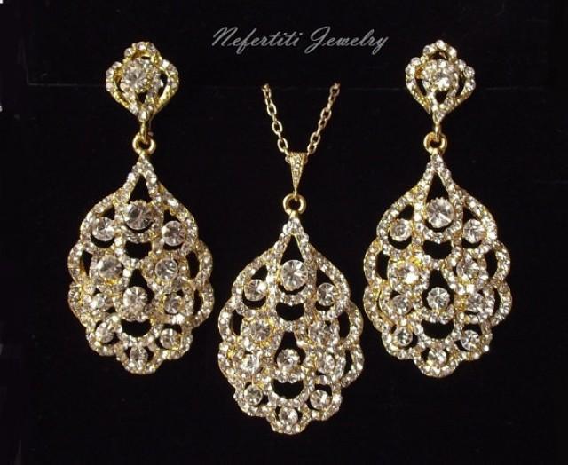 Gold Bridal Jewelry Set Crystal Wedding Jewelry Set Rhinestone