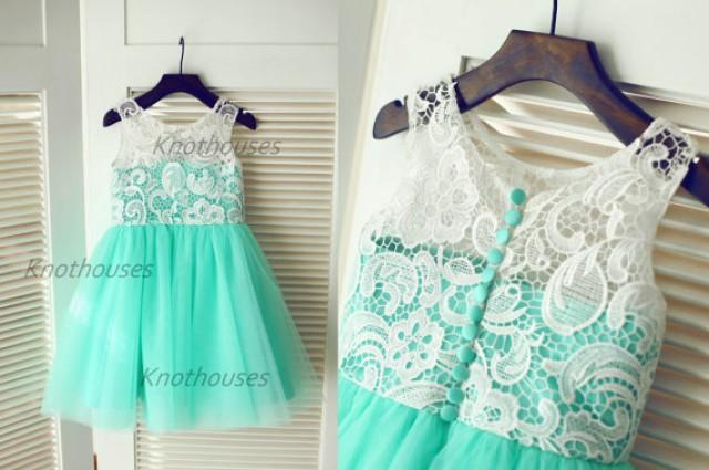 Commit tiffany blue wedding flower girl dress