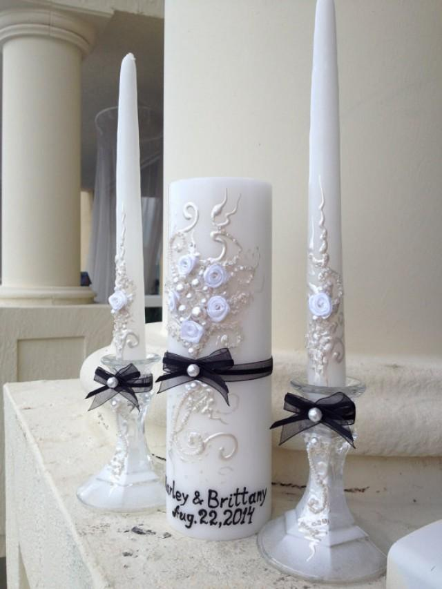 beautiful wedding unity candle set  great match for your