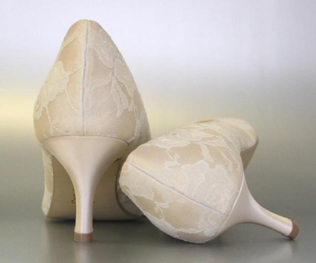 Lace Wedding Shoes    Dark Ivory Peep Toe Wedding Shoes With Lace Overlay  #2292568   Weddbook