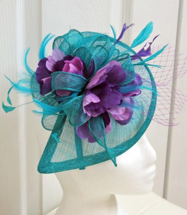 New Teal Fascinator Turquoise Fascinator Wedding Hat Lavender Flower Veil Derby Hat 2292679