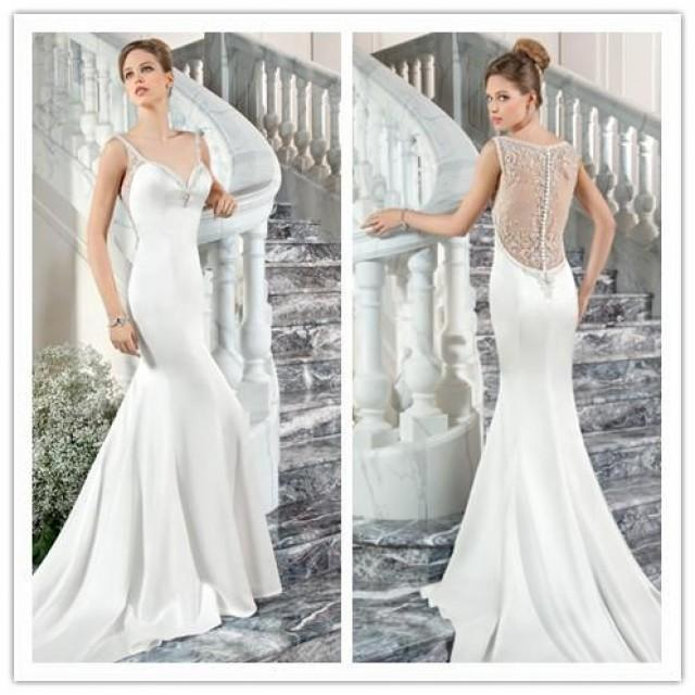 Vintage mermaid wedding dresses white 2015 illusion back for Wedding dress illusion back