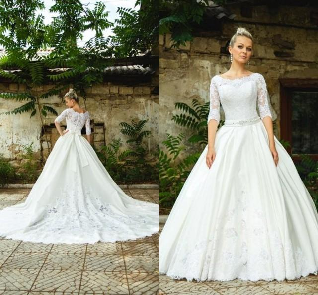 Modest 2015 spring wedding dress with sheer lace applique for Storing your wedding dress