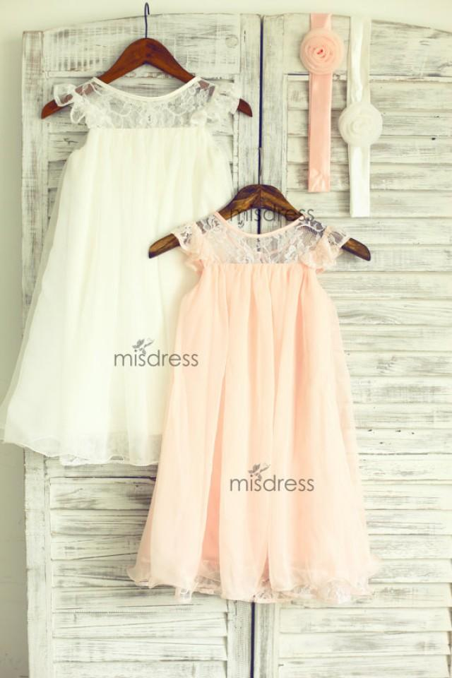 Ivory Blush Pink Lace Chiffon Flower Girl Dress Cap