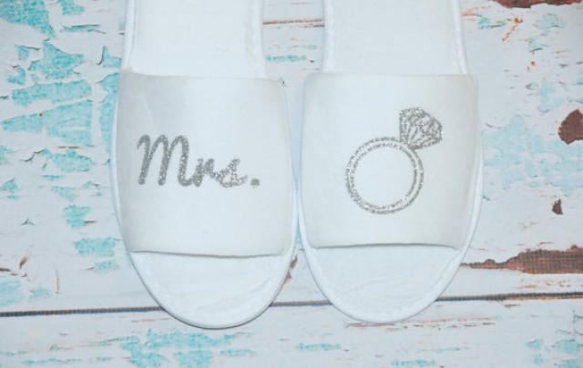 9bb938c9dd83 Mrs. Bride Slippers Shoes Terry. White Sparkly. Bridal Party. Wedding Gift.  Bridal Shower. Getting Ready Outfit  2293278 - Weddbook
