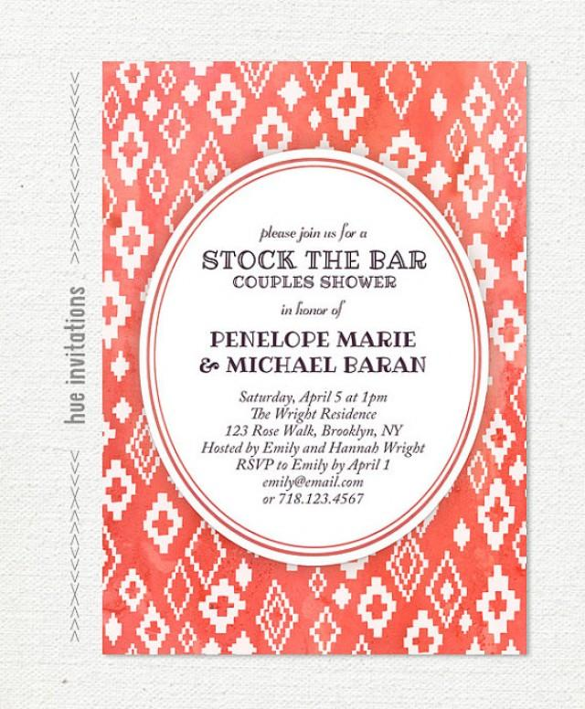 Coral Stock The Bar Invitation, Watercolor Modern Couples Shower ...
