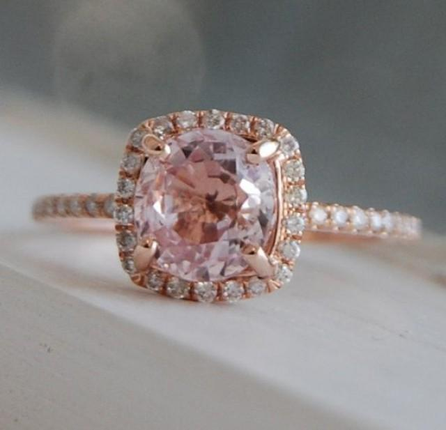 On Hold 1 8ct Square Cushion Peach Champagne Sapphire 14k