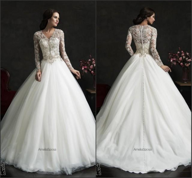 Vintage Winter Fall 2015 Wedding Dresses With Long Sleeve