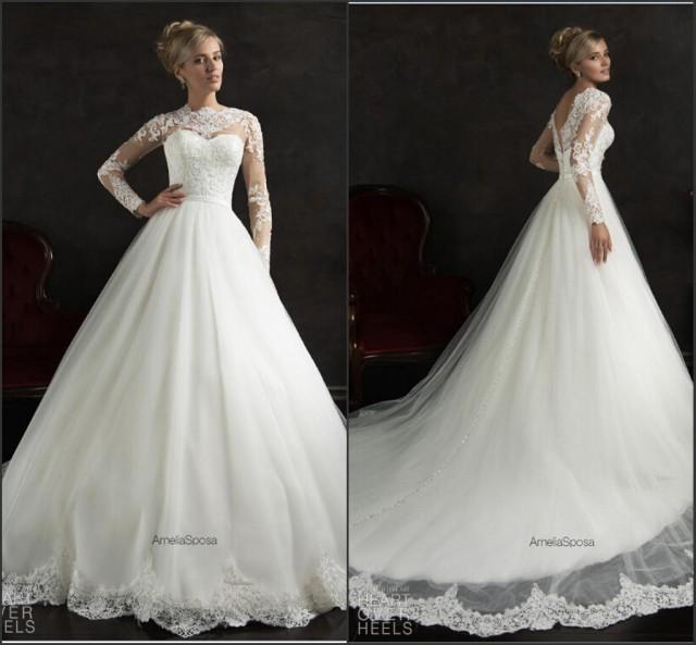 Long sleeve amelia sposa white wedding dresses 2015 for Lace winter wedding dresses