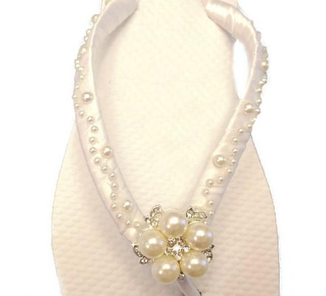 2 WEDGE Wedding Flip Flops Bridal Wedge Beach Shoes Pearl 2293996
