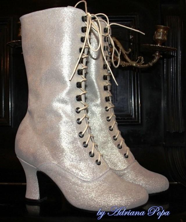 Wedding Shoes Bridal Victorian Boots Lace Up White Glitter Ankle ORDER Your Customized Size 2294019