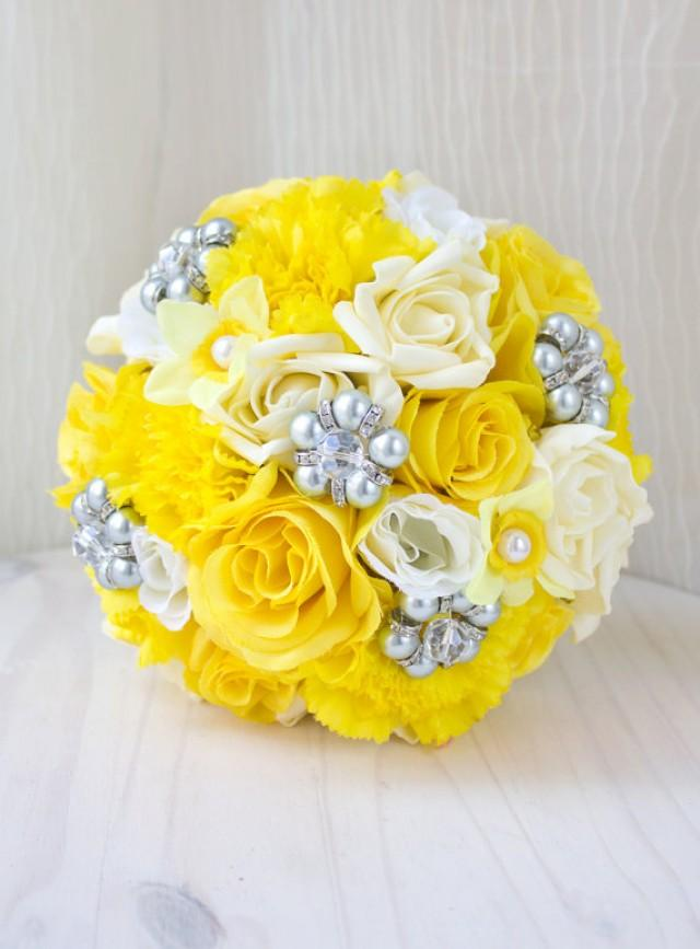 Yellow and grey bouquet bridal brooch bouquet jewelry brooch yellow and grey bouquet bridal brooch bouquet jewelry brooch bouquet wedding bouquet yellow wedding silk flower bouquet bq41 2294031 weddbook mightylinksfo