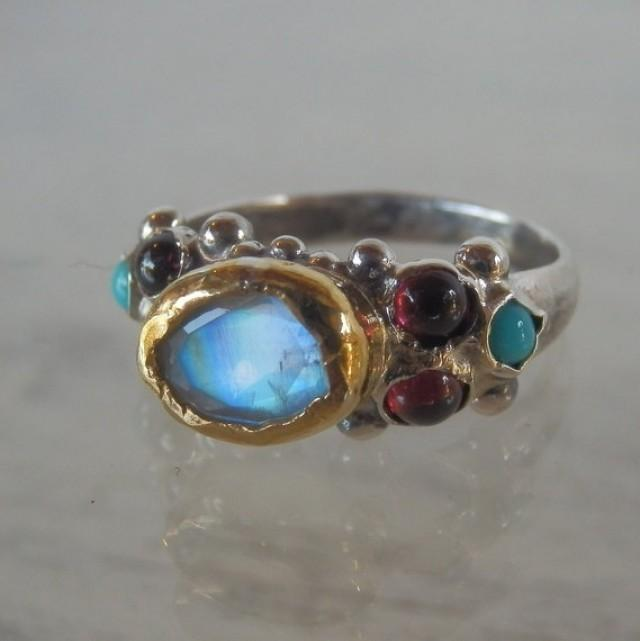 Engagement Ring Moonstone Caterina Ring Gold And Silver Ring